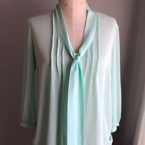 Seafoam tie front blouse